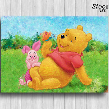 winnie the pooh prints Pooh and Piglet poster disney print baby decor kids wall art