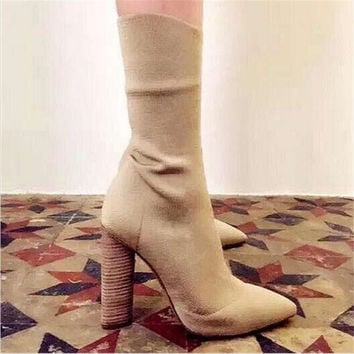 Fashion Stretch Fabric Short Booties Chunky High Heel Shoes Woman Pointed Toe Ankle Boots Knit Sock Botines Mujer Women Pumps