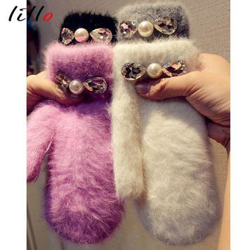 Fashion rabbit hair thick gloves Diamond Winter students cute gloves Winter glove women Elegant and beautiful gloves warm