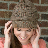 Slouchy Knit Beanie - Taupe
