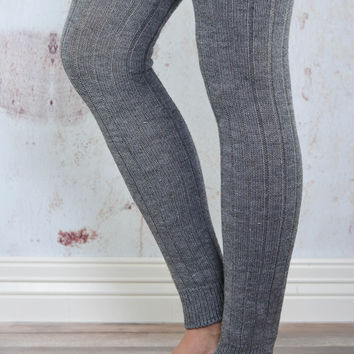 Grey Thigh High Leg Warmers