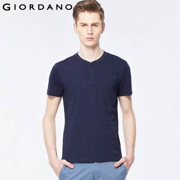 ESBON3R Giordano Men T-shirt Solid Henley Tee Shirt Crewneck Short Sleeves Carbon Cotton Soft Jersey Mens Tops True Slim Fit