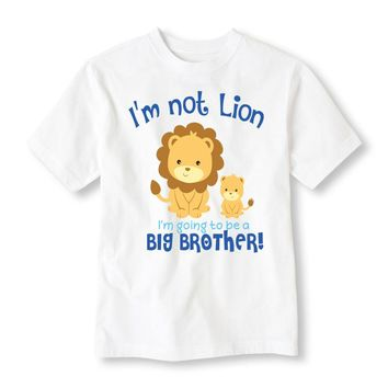 I'm Not Lion I'm Going To Be A Big Brother Personalized Tee Shirt - Birthday Shirt. Kids Birthday. Infant TShirt. Toddler Shirt. Sibling