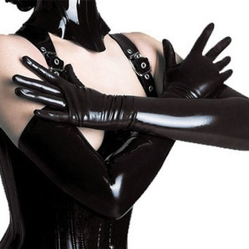 Sexy Lingerie Black Wetlook Shining Spandex PVC CLUBWEAR Women's Long Gloves Erotic For Costume ST06 (Color: Black) = 1958152964