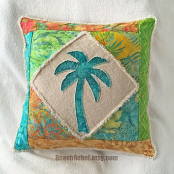 Palm tree boho pillow cover patchwork with turquoise, green, orange, yellow and aqua teal batiks and natural distressed denim 16""