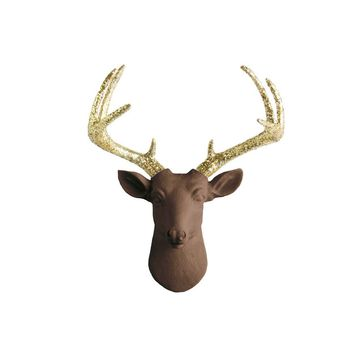 The Mini Virginia | Deer Head | Faux Taxidermy | Chocolate Brown  + Gold Glitter Antlers Resin