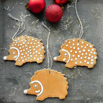 Hedgehog Ceramic Christmas Ornaments Caramel White Dots Woodland Home Decor -Set of 3