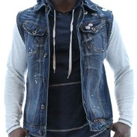 Akoo Movement Denim Vest Jacket Distressed Studded:Amazon:Clothing