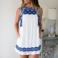 Love Stitch Royal and White Embroidered Dress