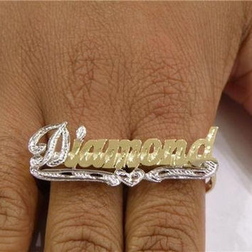 Personalized 14k gold overlay any name 2 finger Rings /two finger name ring/Gift/a4