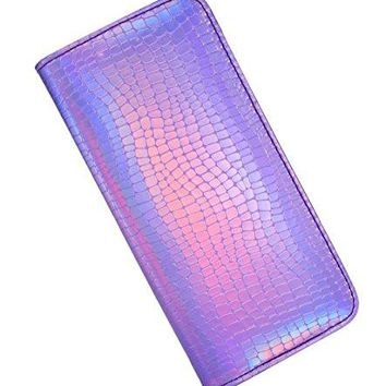 Long Wallet for Women With zipper Holographic Clutch Wallet Pouch Purse