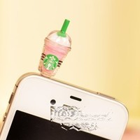 BY champper Hot New Starbucks Coffee Style 3.5mm Headphone Anti-dust Plug Cap for iPhone 4 4S Samsung Galaxy HTC LG - Pink Color
