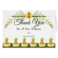 Elegant Floral Tropical Summer Wedding Thank You Card