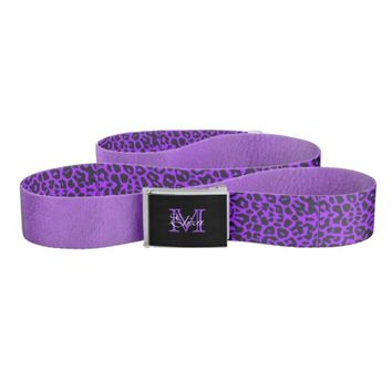 Purple Leopard and Leather Reversible Belt