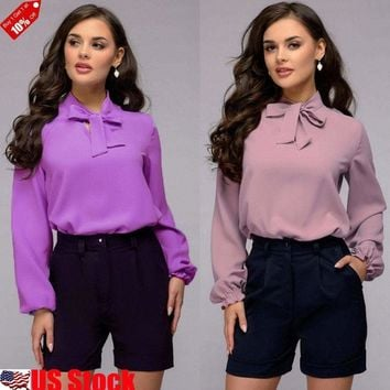 Women Bow Tie Stand Collar Chiffon Blouse Solid Long Sleeve Casual OL Shirt Tops