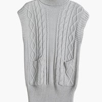 Turtleneck Twisted Pattern Knitted Pullover
