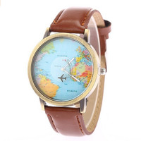 Unisex Vintage World Map Travel Abroad Leather Band Strap Watch Brown + gift box