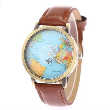 World Map Travelling Abroad Leather Watch Brown