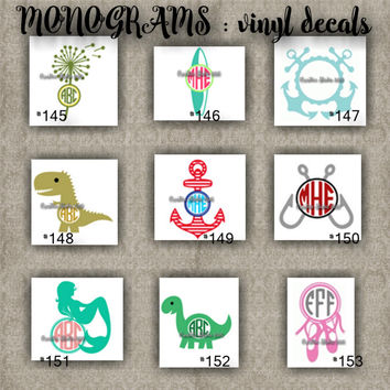MONOGRAM vinyl decals | name | initial | decal | sticker | car decals | car stickers | laptop sticker - 145-153