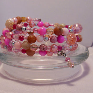 Beaded Wrap Bracelet, Multicolor bangles, Choose your favorite season, Great gift idea