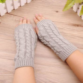 Fashion Women Winter Female Hand Arm Women Knitted Wrist Glove Half Finger Crochet Knitted Mittens Fingerless Gloves