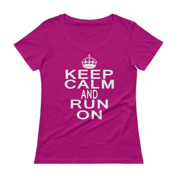 Keep Calm and Run On Women's Burnout Running Women's crew neck Top , Gift for Runner