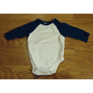 Place Long Sleeve One Piece Boys 0-3M Newborn Cotton White/Blue -- Used