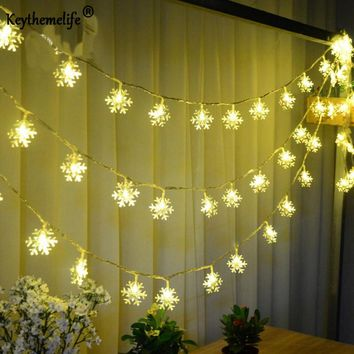 20 LED Snowflake Lamp Battery Operated 2.5 M Holiday Lighting Strings Wedding Garden Party Christmas New Year Decoration F