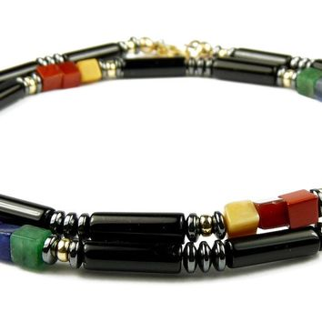 Men's Chakra Necklace: Black Onyx 7 Chakra Necklace