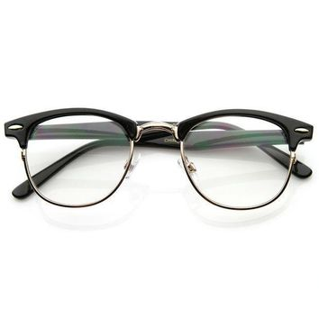 Black Horned Rim Clear Lens RX'able Half Frame Horn Rimmed Glasses