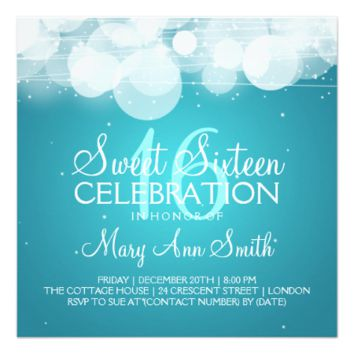 Sweet Sixteen Party Glow & Sparkle Turquoise 5.25x5.25 Square Paper Invitation Card