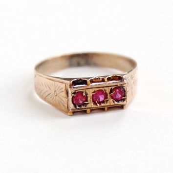 Antique Victorian 14k Rose Gold Created Ruby Ring - Size 7 3/4 Pink Gemstone Late 1800s Flower Etched Fine Jewelry