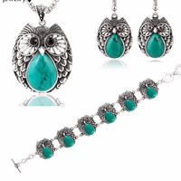 Owl Jewelry Set Silver Vintage Turquoise Pendant Necklace