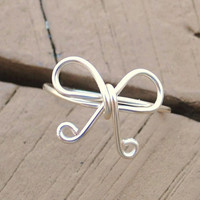 Wire Wrapped Ring Silver Remind Me Bow by KissMeKrafty on Etsy