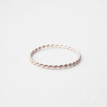 Thin Stacking Ring Rose Gold Fill Twist