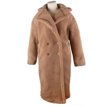 Fake fur thick warm curly teddy coat new collection fashion trend winter clothing oversize with underneath windshield 2 color