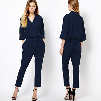 Summer Women's Fashion Stylish Three-quarter Sleeve V-neck Chiffon Jumpsuit [4918901636]