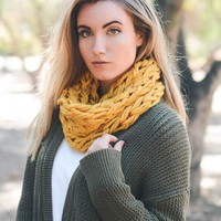 Yam Braided Snood - Mustard
