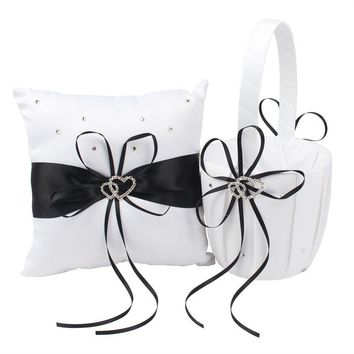Basket Pillow Set Bowknot Flower Girls Baskets And Ring Pillows Suit For Wedding