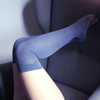 Solid Dusty blue Over the Knee socks | Thigh high Socks | Made in USA Socks at Between the Sheets