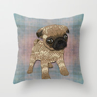 Pug Puppy Throw Pillow by ArtLovePassion