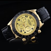 Rolex Fashion Delicate Ladies Men Business Sport Movement Lovers Watch Black Gold Dial I-SBHY-WSL