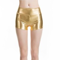 Hot Shorts VISNXGI Womens Mid Waisted PU Sexy Summer  Metallic Rave Dance  Spandex Shiny Pole Dance Gold Silver Short For StageAT_43_3