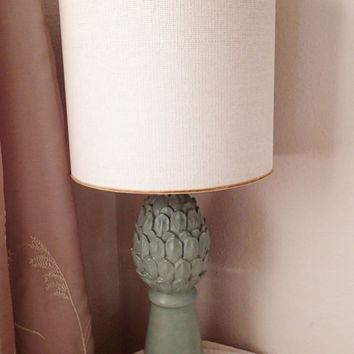 Hollywood Regency Table Lamp Artichoke Seafoam Green Plaster, Neoclassic 18th Century, unique glass diffuser ring fit burlap shade