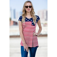 American Flag w/Star Pocket Tee, Navy-Red. (Size M)