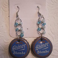Shiner Blonde Earrings- Blue and White
