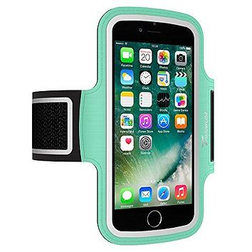 Trianium Armband For iPhone 8 7 6 6S Plus x, LG G6 G5, LG V20, Galaxy s8 s7 s6 Edge, Note 8 5, Pixel 2 XL (Fit Otterbox Defender / Lifeproof case) ArmTrek Pro Sport Running Pouch Key Holder (Mint)