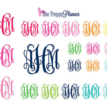 MONOGRAMMED Planner Stickers for all Planner Types
