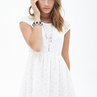 FOREVER 21 Pleated Lace Flare Dress