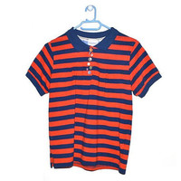 Vintage Striped Polo T Shirt Blue Orange Womens Top 90s Grunge Small Medium S M